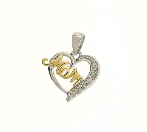 925 Sterling Silver 'MOM' Heart Cubic Zirconia Pendant -Including Chain 18