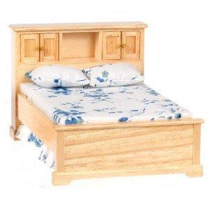 """1"""" Scale Dollhouse Oak Double Bed"""