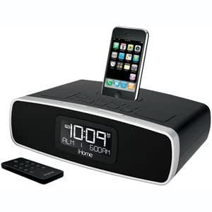 ihome ip90 dual alarm clock radio am fm presets dock for ipod and iphone black. Black Bedroom Furniture Sets. Home Design Ideas