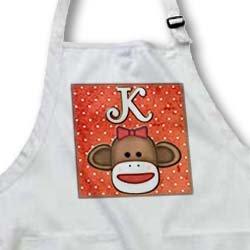 apr_102814 Dooni Designs Monogram Initial Designs - Cute Sock Monkey Girl Initial Letter K - Aprons