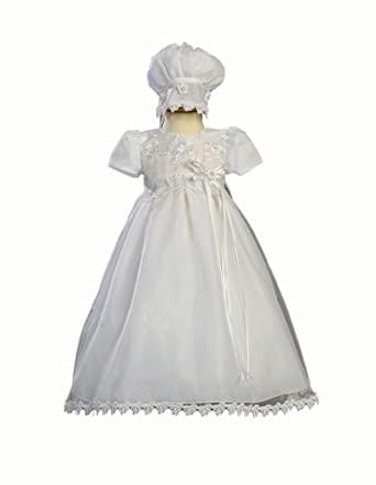 White Christening Baptism Gown with Bonnet - Size L (12-18 Month)