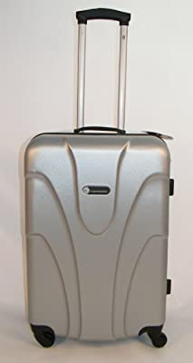 "Hard Shell 24"" Wheeled Suitcase Trolley in Silver"