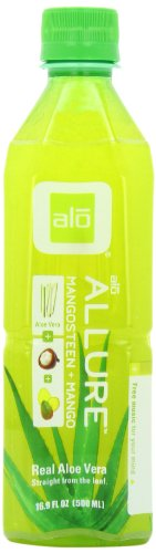 alo ALLURE Aloe Vera and Mangosteen and Mango, 16.9-Ounce Bottles (Pack of 12)