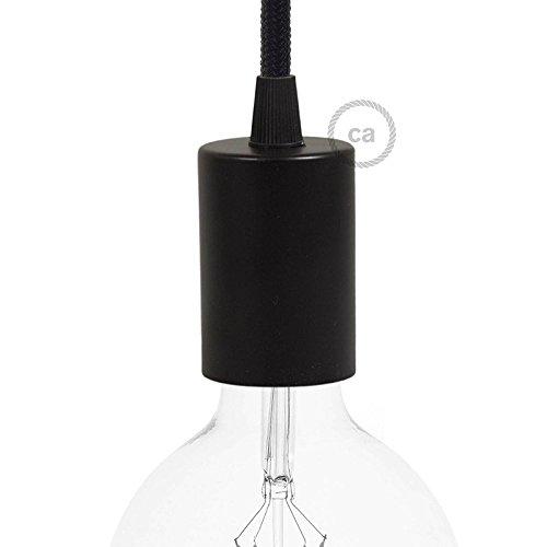 Kit portalampada cilindro composto da bicchierino metallo nero + portalampada e27 + serracavo nero