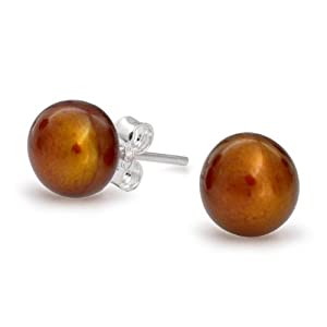 Bling Jewelry Chocolate 925 Sterling Silver Freshwater Button Pearl Stud Earrings