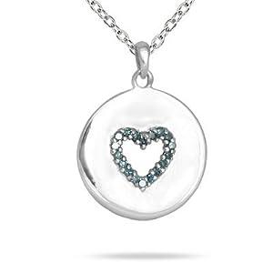 10K White Gold Round Cut Diamond Heart Tag Pendant