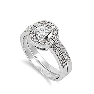 Sterling Silver Polished Two-Piece Engagement Promise Ring with Clear Cubic Zirconia Stones-size7
