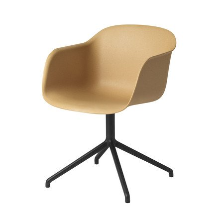 Muuto - Fiber Chair - Swivel Base, natur / schwarz