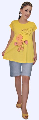 Maternity clothes Yellow Tee and Denim Maternity Short