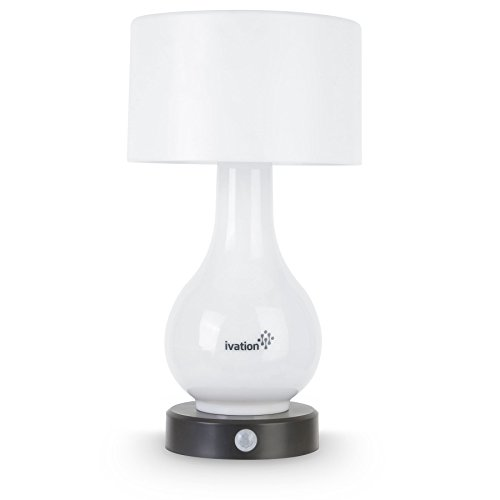 Ivation 6-LED Battery Operated Motion Sensing Table Lamp - Multi Zone Light: Body Only, Shade Only, or Both Body & Shade - can Also Light Continuously (Battery Operated Lamps With Shade compare prices)