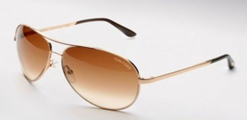Tom Ford Men's 0035 Charles Shiny Rose Gold Frame/Brown Gradient Lens Metal Sunglasses