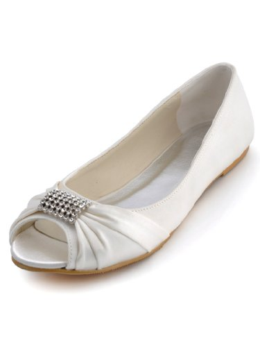 Elegantpark EP2053 Ivory Rhinestones Wedding Peep Toe Women Flats Buckle Satin Knot Bridal Shoes US 11