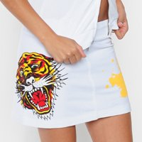 Ed Hardy White Tiger Stretch French Terry Mini Skirt