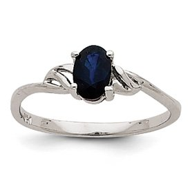 Genuine IceCarats Designer Jewelry Gift 14K White Gold Sapphire Birthstone Ring Size 7.00