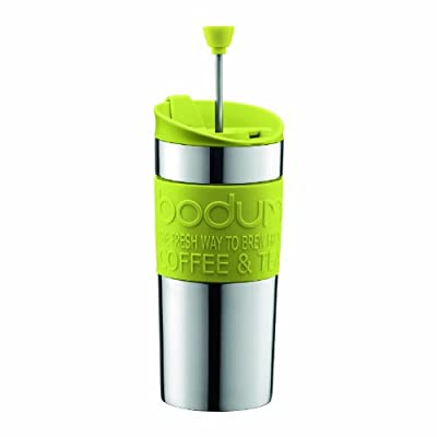 BODUM Travel Press Set Small Stainless Steel Coffee Maker with Extra Lid, Vacuum, 0.35 Litre/ 12 oz, Lime Green_Parent from BODUM