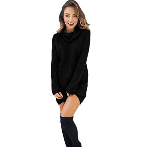 Perman Womens Warm Long Sleeve Jumper Turtleneck Sweaters Coat Outerwear Dress (M, Black)