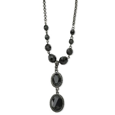 Black-plated Faceted Jet Bead Drop Y 16 Inch Necklace - JewelryWeb