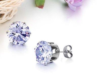 JBG New Jewellery Sky Blue Shiny Round Crystal Diamond Titanium Earrings Stainless Steel Charming Stud Earrings For Men/Women in a Nice Gift Box