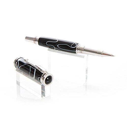 esclusivo-realizzato-a-mano-pezzo-unicopenna-roller-in-nero-acrilico-bianco-da-un-piccolo-manufaktur