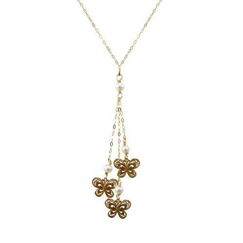 10k Yellow Gold Three Butterfly Lariat Ornament Y-Pendant Necklace, 17