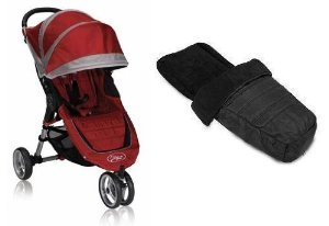 Baby Jogger 2012 City Mini Single Stroller With Footmuff (Crimson/Gray) front-814421