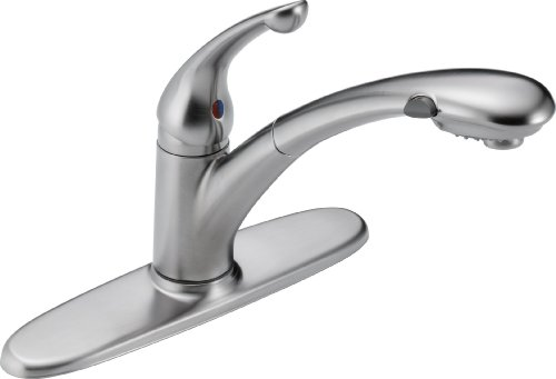 Delta 470-AR-DST Signature Single Handle Pull-Out Kitchen Faucet, Arctic Stainless