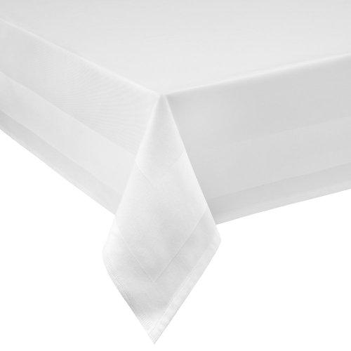 Damast Tischdecke Größe wählbar - Gastro Edition Weiss Eckig 90 x 90 cm Tischdeckemit Atlaskante aus 100 % Baumwolle