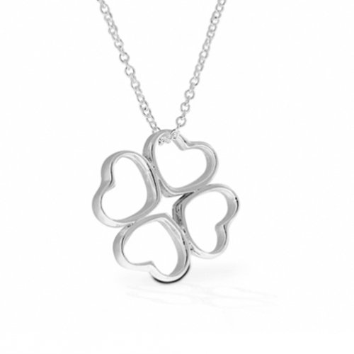 Sterling Silver Geometric Clover Pendant Necklace 20
