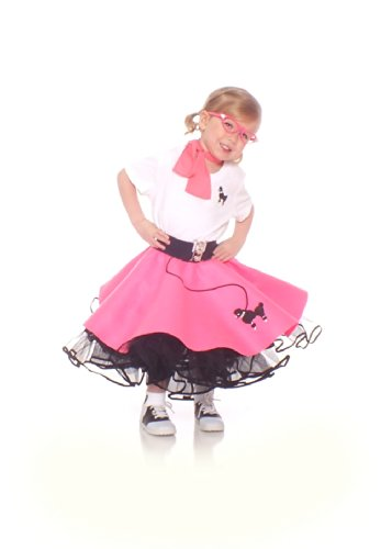 Hip Hop 50S Shop 4 Piece Toddler Poodle Skirt Outfit - Size Toddler Hot Pink