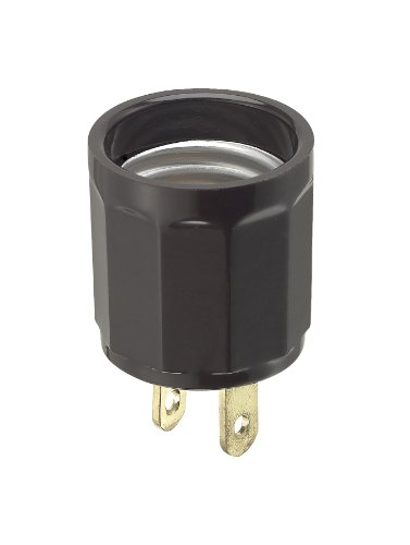 Leviton 61 660 Watt, 125 Volt, Polarized Outlet-To-Lampholder Adapter, Brown
