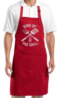 Mens BBQ Apron - King of the Grill Barbecue, Red