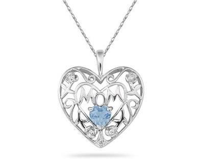Aquamarine and Diamond Mom Pendant in White Gold
