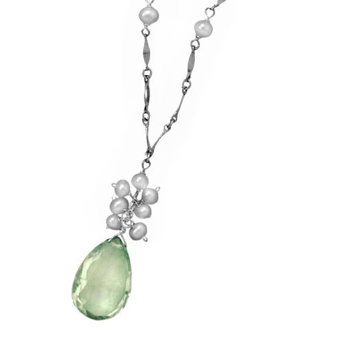 Apple Green Amethyst Necklace with White Pearls Sterling Silver Adjustable Length