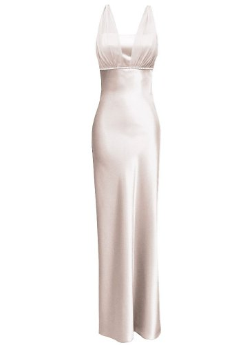 Satin Chiffon Holiday Bridesmaid Long Formal Gown Crystals Junior Plus Ivory X-Small