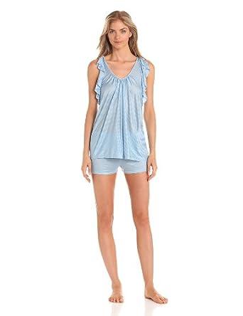 Midnight by Carole Hochman Women's Love Story Shorty Pajama Set, Sky Blue, X-large