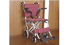 超軽量 アルミ製 旅行用車椅子 エンジ色