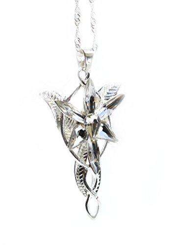 LOTR Signore Degli Anelli Hobbit Arwen EVENSTAR il tono dell'argento collana pendente di cristallo Prop Replica