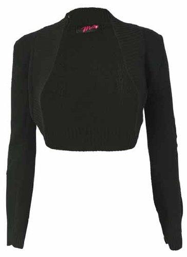 Ladies Knitted Long Sleeve Stretch Shrug Womens Crop Cardigan Bolero Open Jumper Top