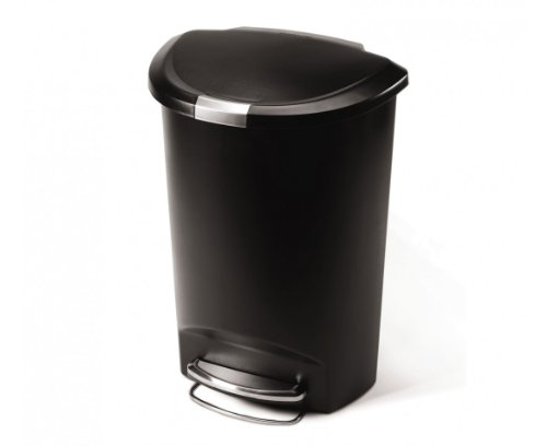 simplehuman Semi-Round Step Trash Can, Black Plastic, 50 L / 13 Gal (Step Garbage Can 13 Gallon compare prices)