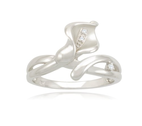 Sterling Silver Calla Lily Diamond Ring