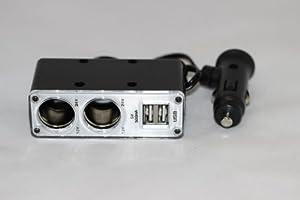STROM ADAPTER 12V mit 2-fach VERTEILER und 2 x USB Anschluss - Steckdose für Auto in SCHWARZ