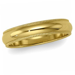 14K Yellow Gold, Milgrain Wedding Band 5MM (sz 10.5)