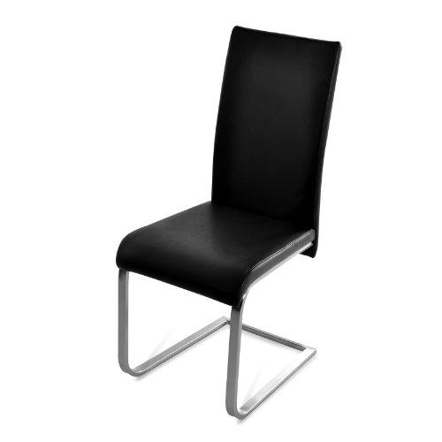 SAM-Polster-Stuhl-schwarz-Edelstahlfe-JULIA-Freischwinger-komfortabel-gepolstert-pflegeleicht-schlicht-Lieferung-erfolgt-ber-Paketdienst-teilzerlegt