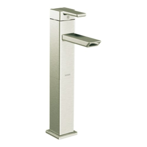 Moen S6711BN 90 Degree One-Handle High Arc Vessel Bathroom Faucet, Brushed Nickel