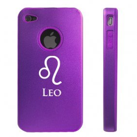Apple iPhone 4 4S 4G Purple D1051 Aluminum & Silicone Case Cover Horoscope Astrology Leo