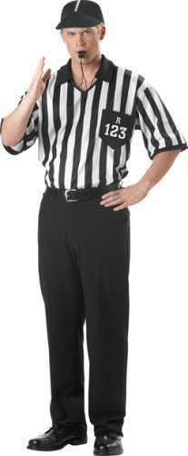 Men's Referee Shirt And Hat Halloween Costume