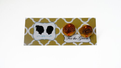 Grooms I DO Cufflinks with Colored Crystal-Antique Gold Charm-Gold Stone