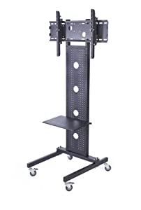Displays2go LCDBLK70H Floor TV Stand for 32-Inch to 42-Inch Monitor with Metal Shelf and Locking Casters, Black