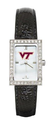 Virginia Tech Women'S Black Leather Strap Allure Watch