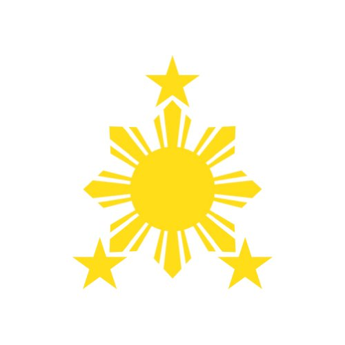 Philippines Flag 1 Sun and 3 Stars Logo Filipino Decal